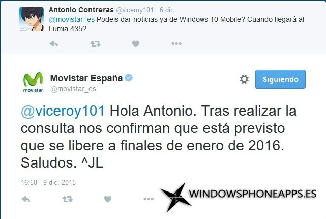 Windows 10 Mobile en enero de 2016 según Movistar