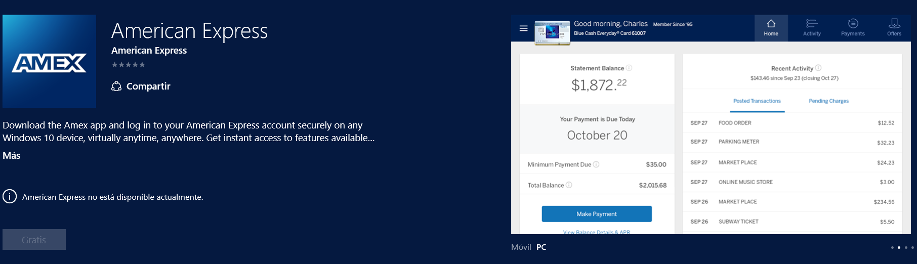 american express windows 10