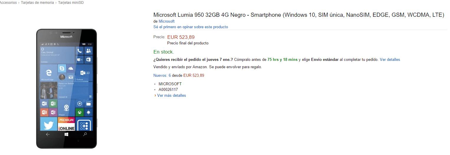 Lumia en Amazon