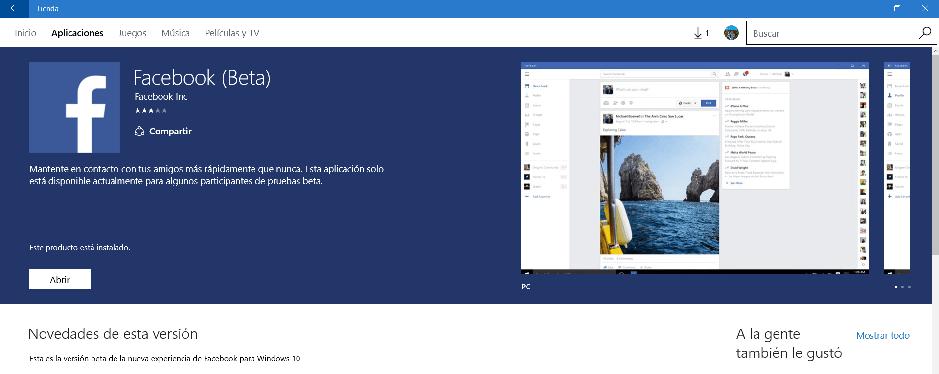 Facebook beta para windows 10 pc se actualiza con novedades for Windows 10 pc