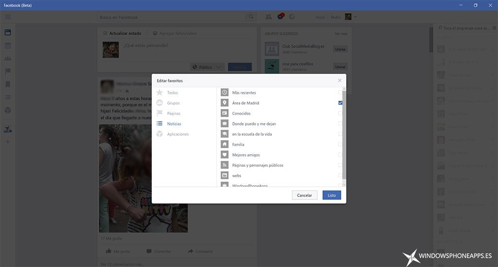 Facebook Beta en Windows 10 PC