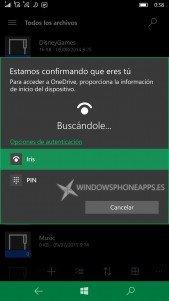 Accede a la aplicación de OneDrive con Windows Hello en Windows 10 Mobile