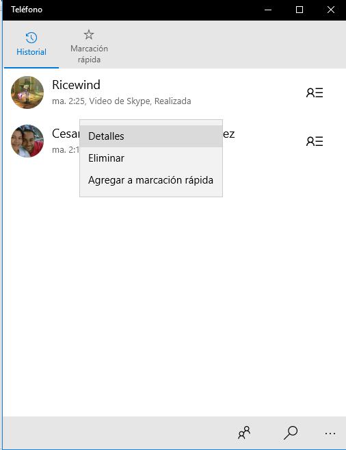 Telefono se actualiza para Windows 10 añadiendo duración de las llamadas