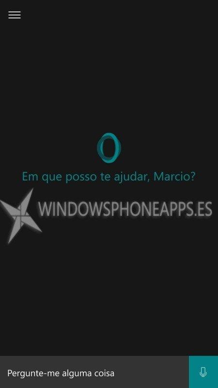 Te mostramos imágenes de Cortana en Portugués desde Windows 10 Mobile