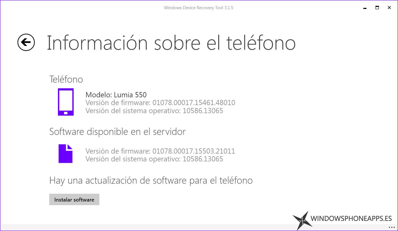 firmware para el Lumia 550