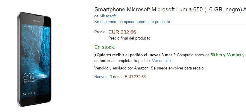 amazon spain lumia 650