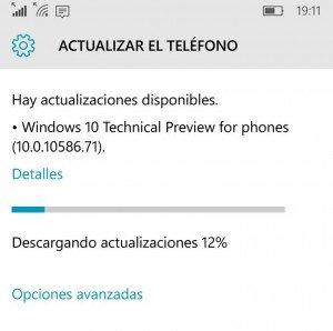 Actualización de Windows 10 Mobile Insider Preview 10586.71