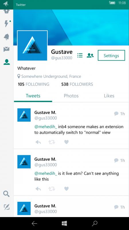 Filtradas imágenes de la supuesta aplicación oficial de Twitter para Windows 10 Mobile