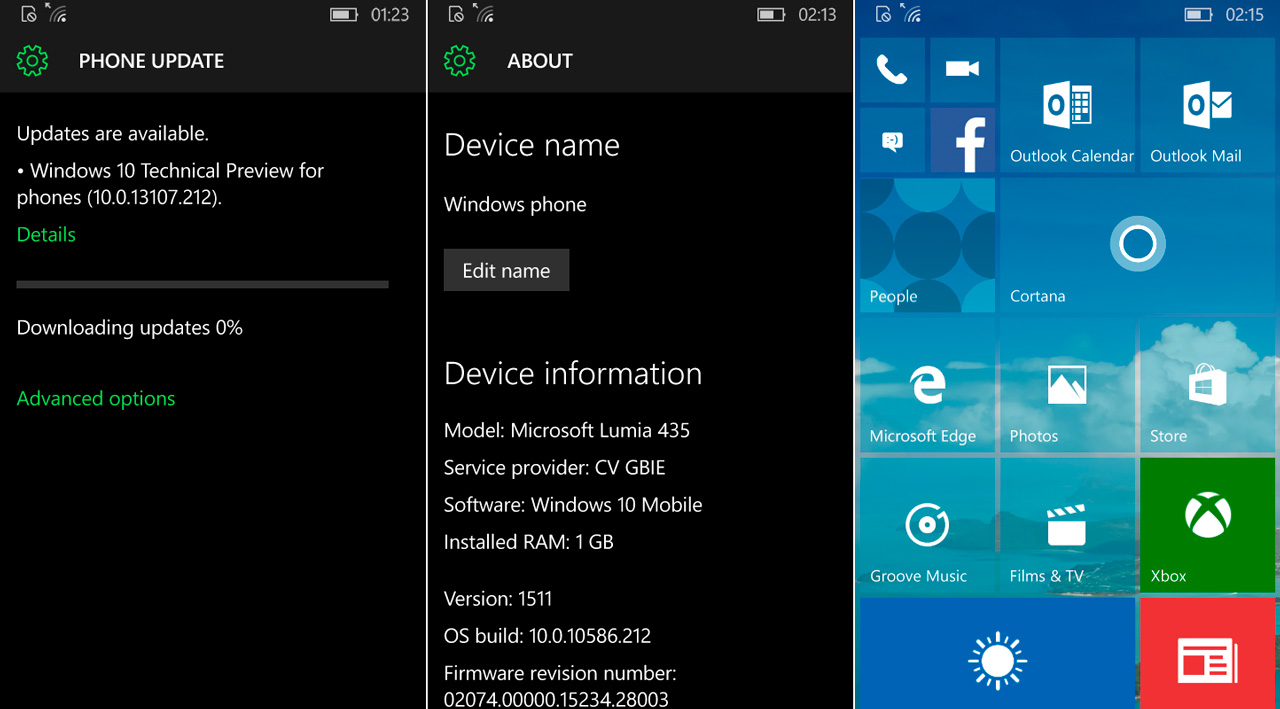Build 10586.212 Windows 10 Mobile