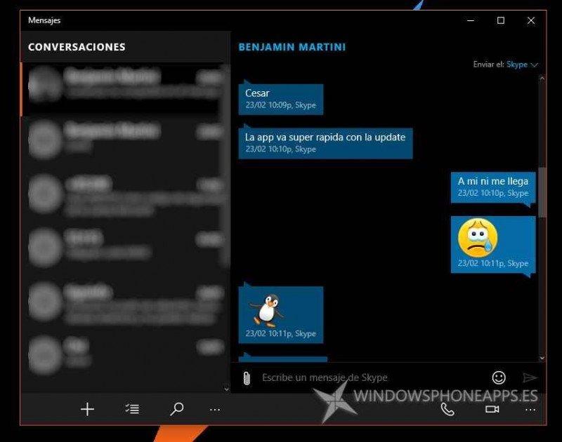 Mensajes y Vídeos de Skype