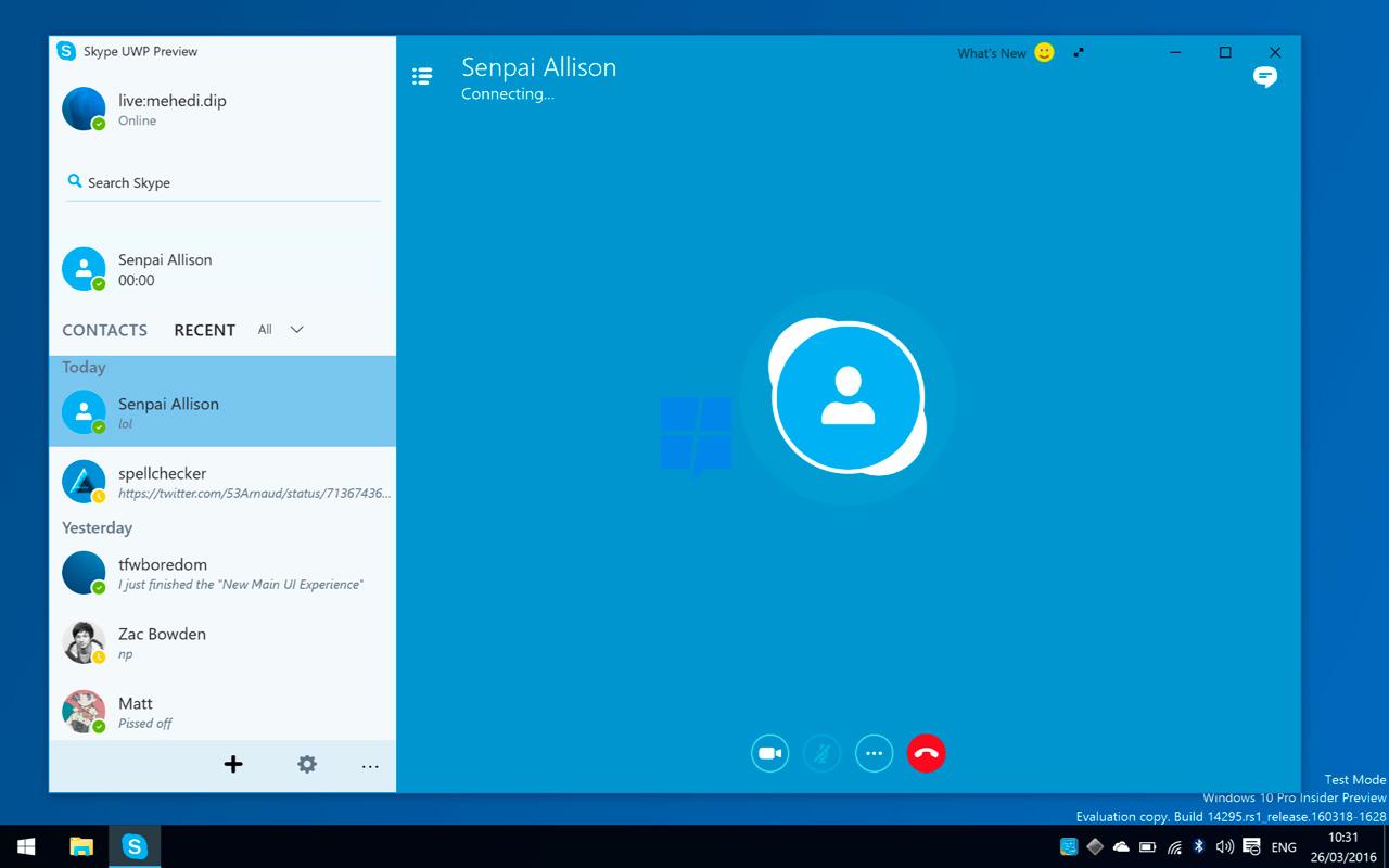 Skype Universal Windows Platform