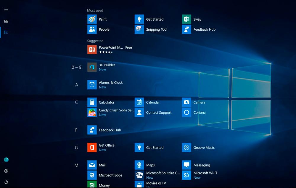 Nueva pantalla de inicio o menú de inicio para Windows 10 Modo tablet
