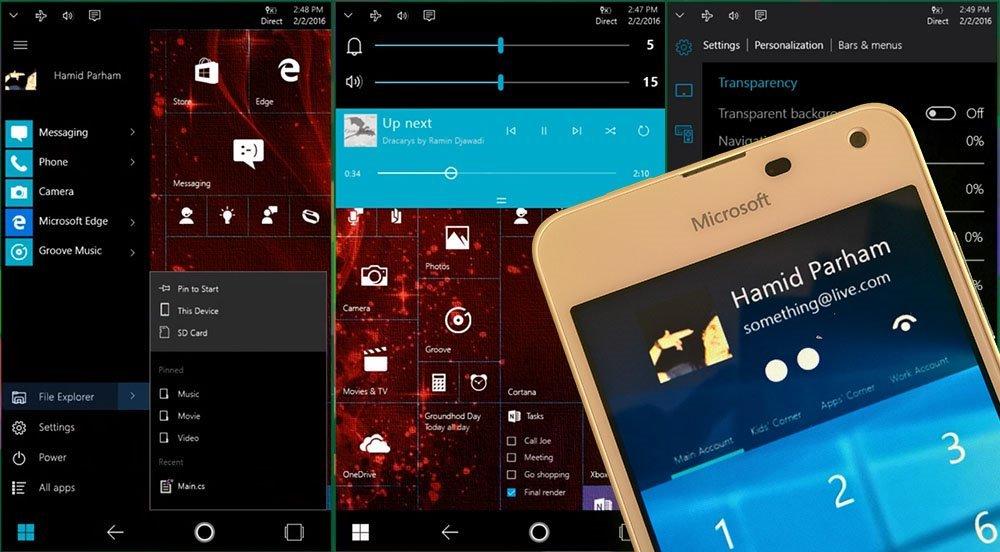 concepto Windows 10 Mobile