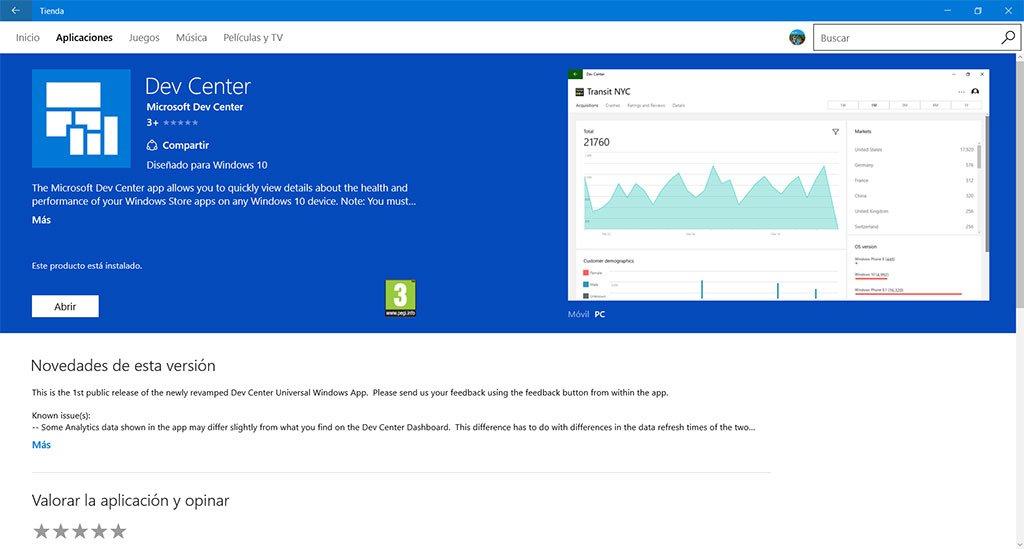 Dev Center para Windows 10