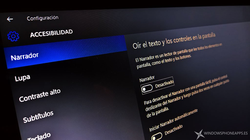 Narrador de Windows 10