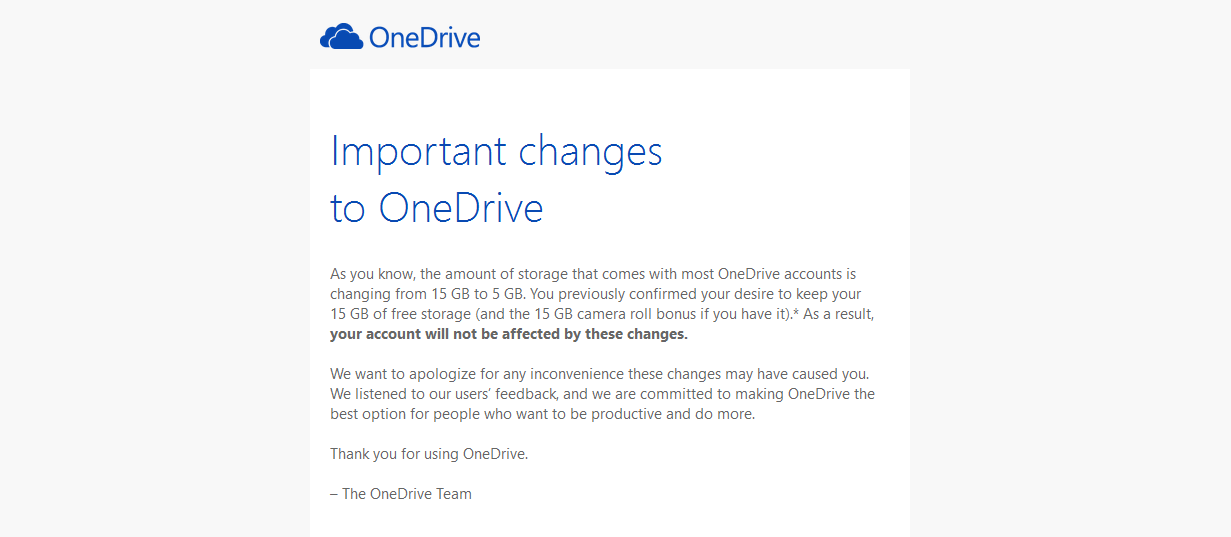 onedrive email cambio almacenamiento