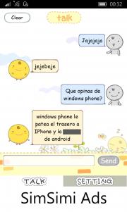SimSimi también está disponible para Windows Phone y Windows 10 Mobile