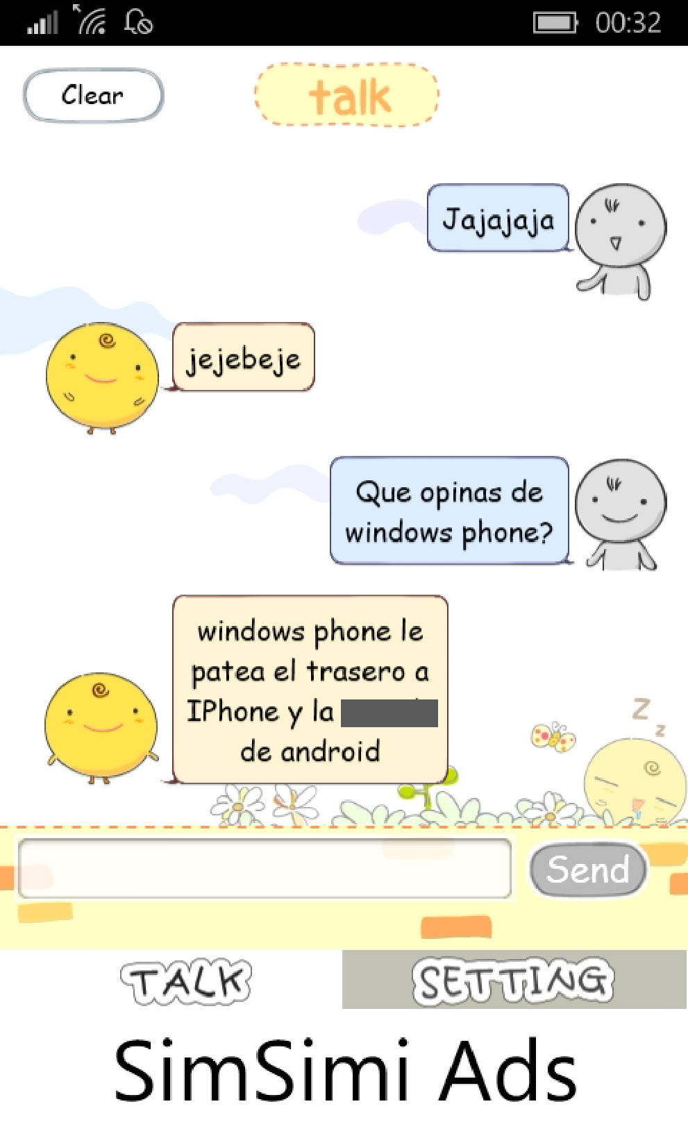 SimSimi también está disponible para Windows Phone y