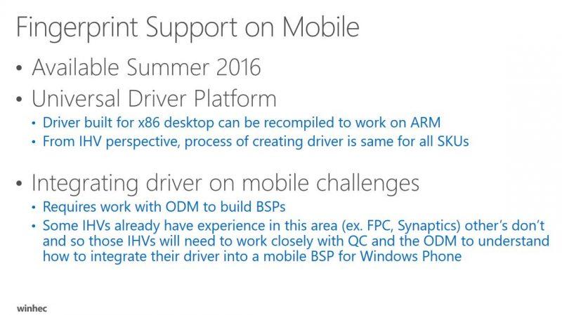 Los lectores de huellas llegarán a Windows 10 Mobile en verano