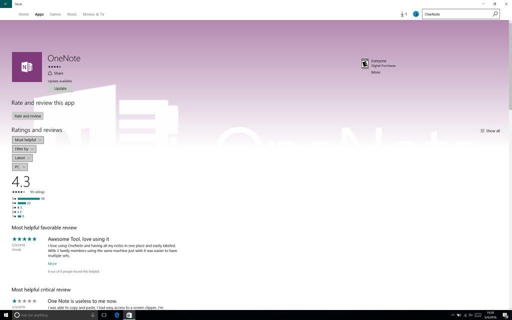 Nueva página de aplicación en la tienda de Windows 10