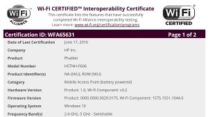 El HP Elite X3 pasa la certificación Bluetooth y WIFI