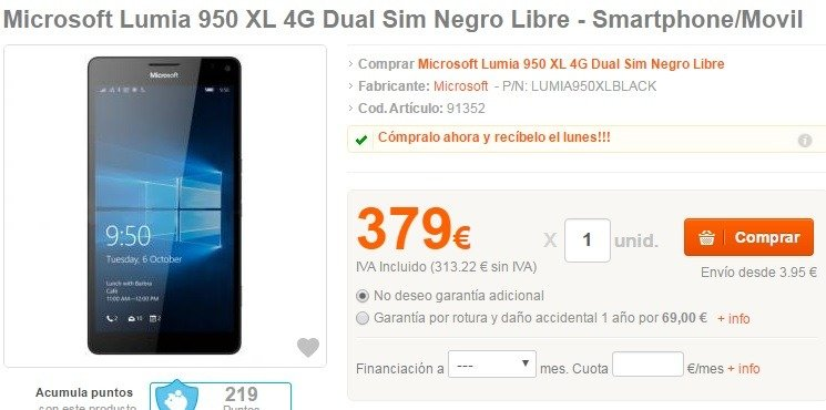 lumia 950 xl pccomponenntes