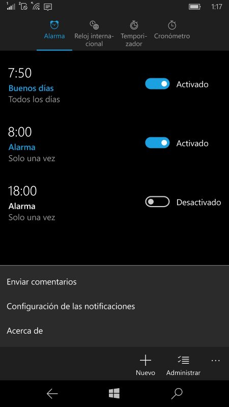 Alarmas y Reloj se actualiza en el anillo rápido, añadiendo configuración de notificaciones