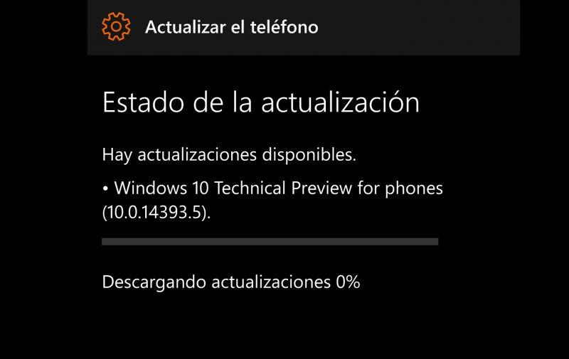 Build 14393.5 Windows 10 PC y móvil