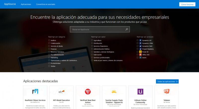 Microsoft AppSource Pagina-web-ESP