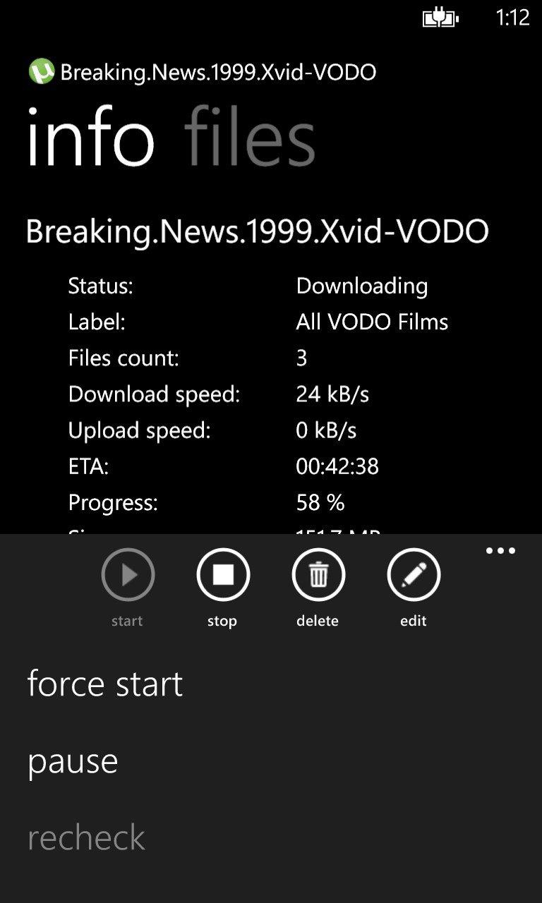Controla μTorrent remotamente desde tu Windows Phone