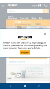 La aplicación de Amazon ya disponible también para Windows 10 Mobile
