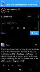 Os mostramos nuevas imágenes de Disqus Universal en Windows 10 Mobile