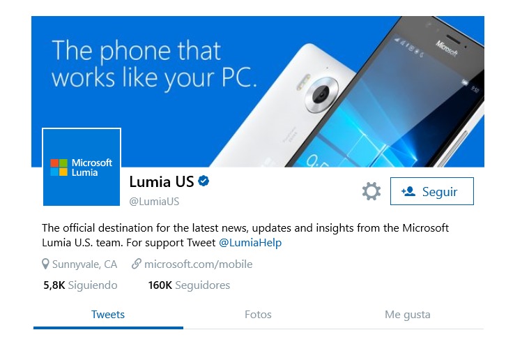 Lumia US twitter