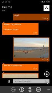 Usa Prisma en Windows 10 Mobile con la ayuda de un bot de Telegram