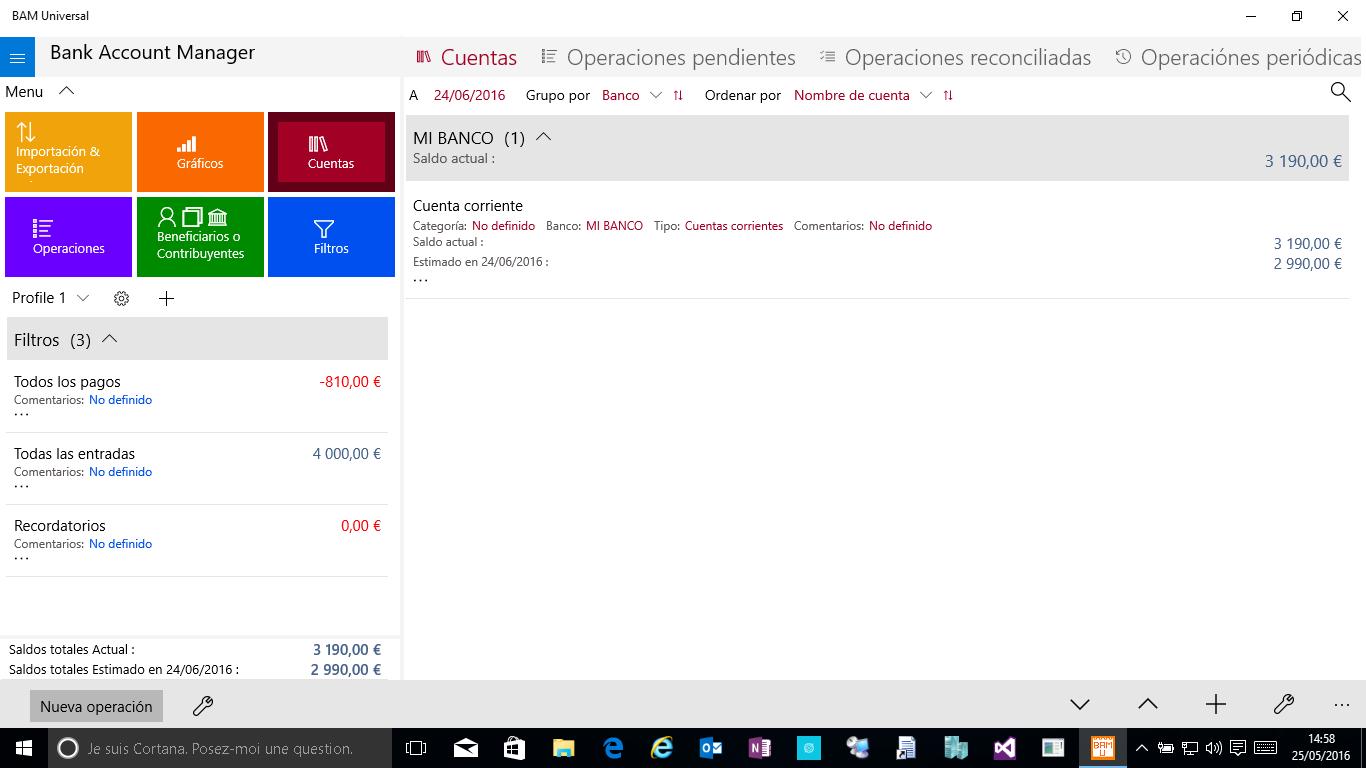 BAM Universal, la aplicación para manejar tus gastos en Windows 10