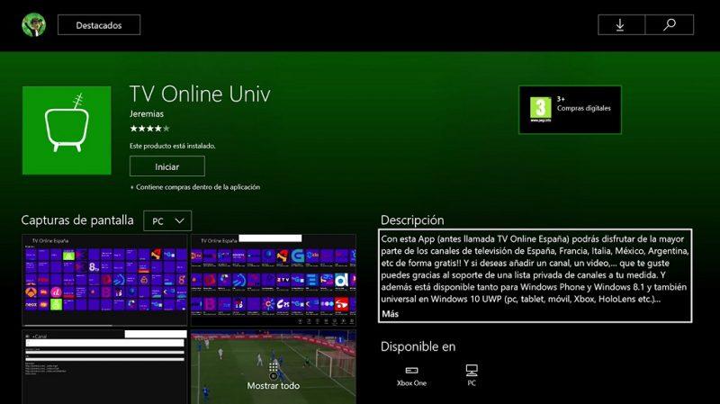 TV Online Univ Portada Xbox One
