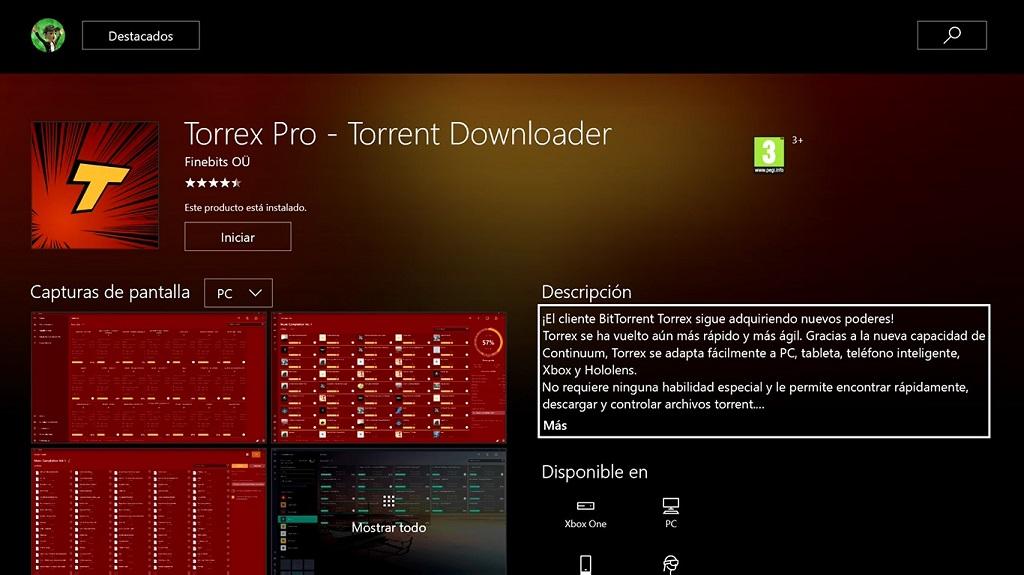 Finebits lanza Torrex Pro e Internet Browser para Xbox One