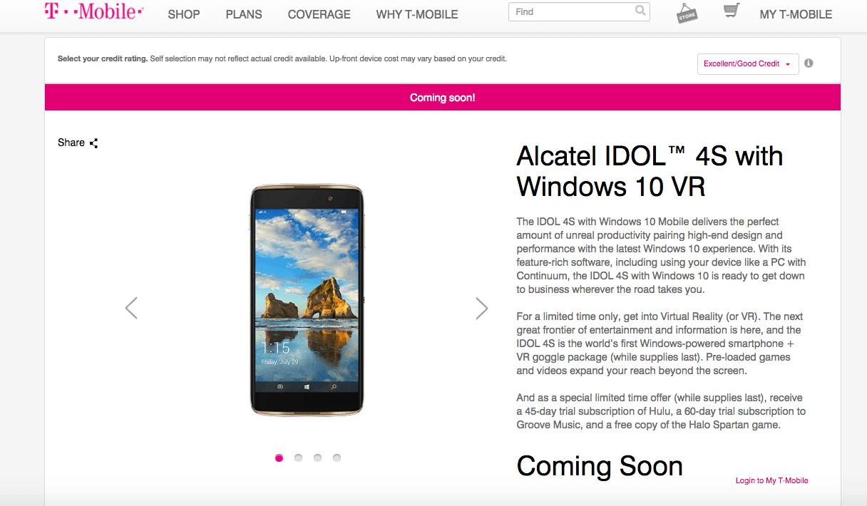 Alcatel IDOL 4S con Windows 10 VR