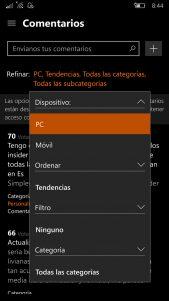 El Centro de Opiniones se actualiza en el anillo rápido con filtro de comentarios de PC y móvil