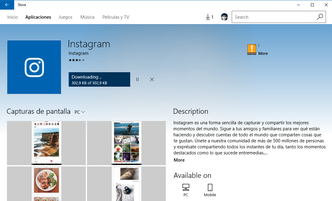 Instagram ya se encuentra disponible para windows 10 pc for Windows 10 pc