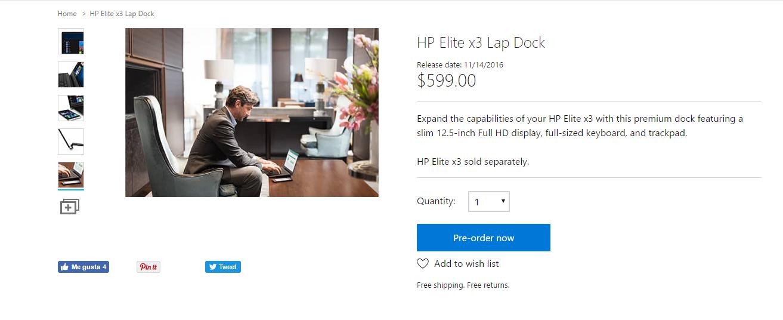 HP Elite x3 Lap Dock