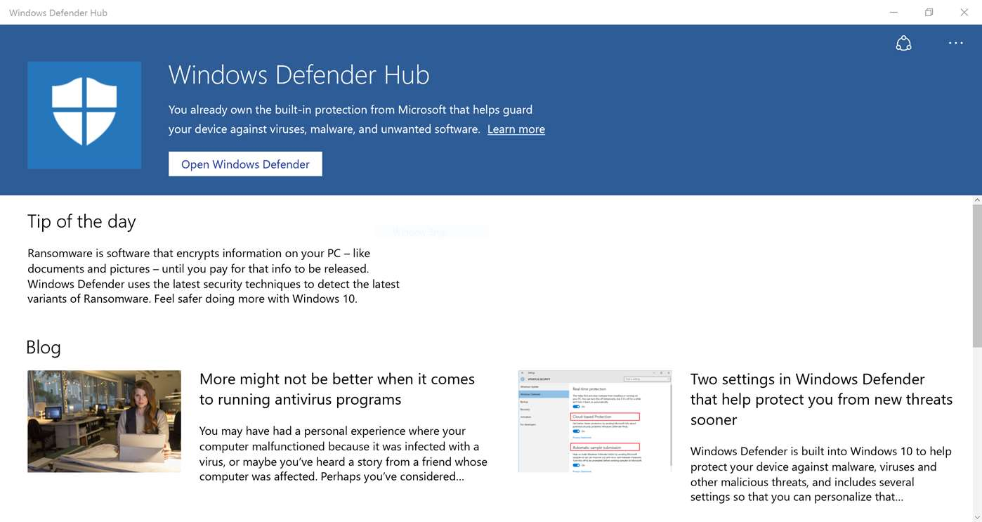Windows Defender Hub