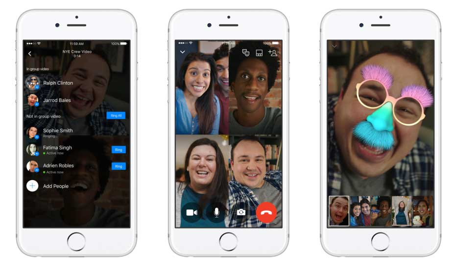 Facebook anuncia las videollamadas grupales para Messenger