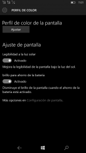 Pantalla pasa a ser Perfil de color en nueva actualización para Windows 10 Mobile