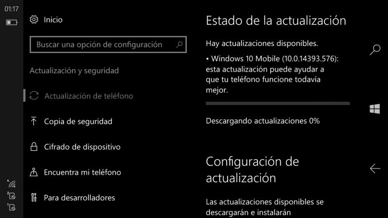 Build 14393.576 de Windows 10 y Windows 10 Mobile disponible para el público y anillo Release Preview