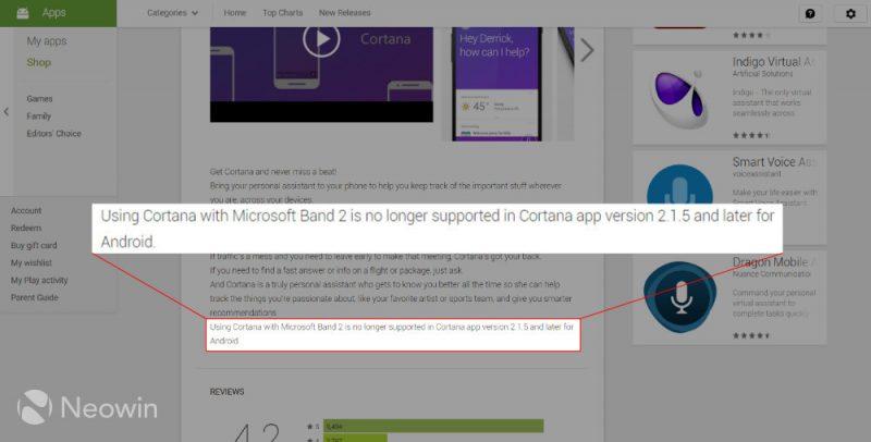 Cortana para Android elimina el soporte para la Microsoft Band 2