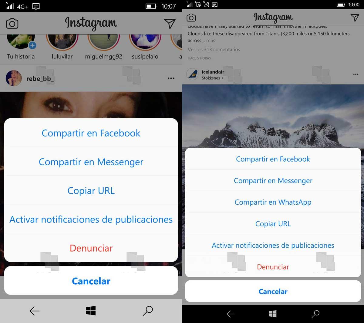 Instagram integra WhatsApp en sus opciones para compartir