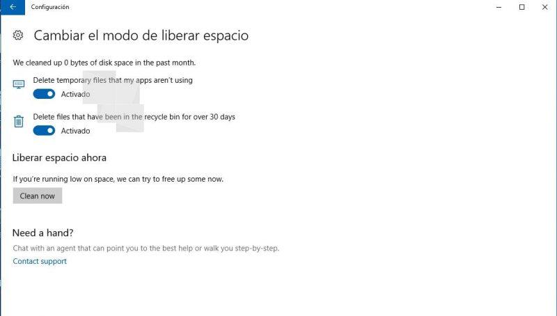 Windows 10 podrá liberar espacio automaticamente desde la Creators Update