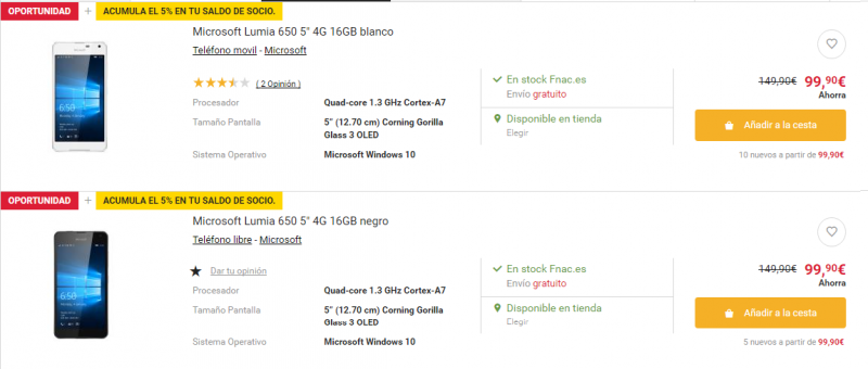 El Lumia 650 también de oferta en Fnac, llévatelo por 99€