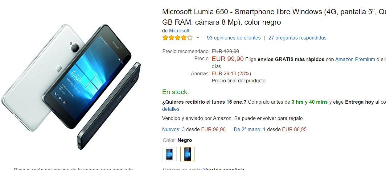Microsoft Lumia 650 en oferta en Amazon España por 99.90€